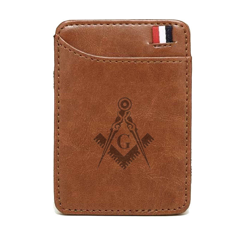 Classic High Quality Masonic Logo Leather Magic Wallets Fashion Men Money Clips Card Purse Cash Holder