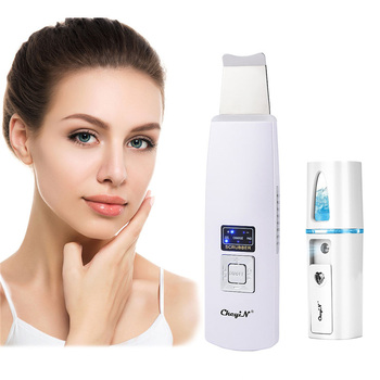 Ultrasonic Skin Scrubber Cleanser Face Deep Cleaning Acne Removal Facial Spa Massager Ultrasound Peeling Clean Tone Lift P40 portable face lift photon tender skin smooth led light therpay galvanic spa ion deep cleaning makeup ultrasonic face massager