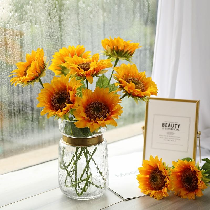 Artificial Floral Bouquet Wedding Home Garden Decor Fake Sunflower Silk Flowers