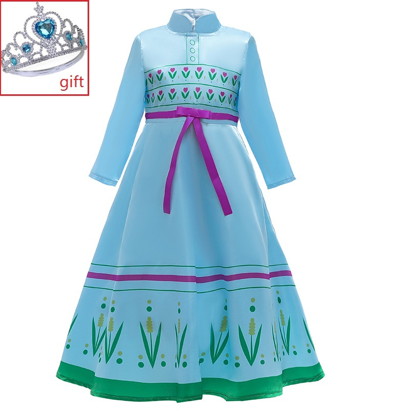 Best-selling animated role-playing children's clothing new girls bow baby Aisha pajamas princess dress image