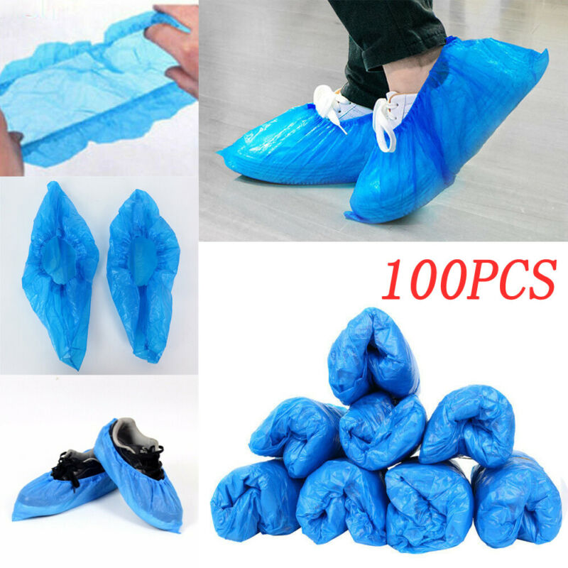 Blue Shoe Dust Covers Non Slip Disposable Floor Protectors ONE SIZE 100PCS For Shoe Cleaning
