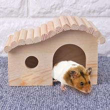 Małe zwierzęta łóżka do spania anty-roztocza drewniane przenośne chomiki jeż drewniane gniazdo Dodge montaż domek artykuły dla zwierząt tanie tanio CN (pochodzenie) Drewna Cages