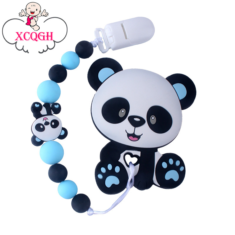 XCQGH Baby Pacifier Chain Silicone Molar Beads Silicone Panda Teether Toy Tooth Gel Chain