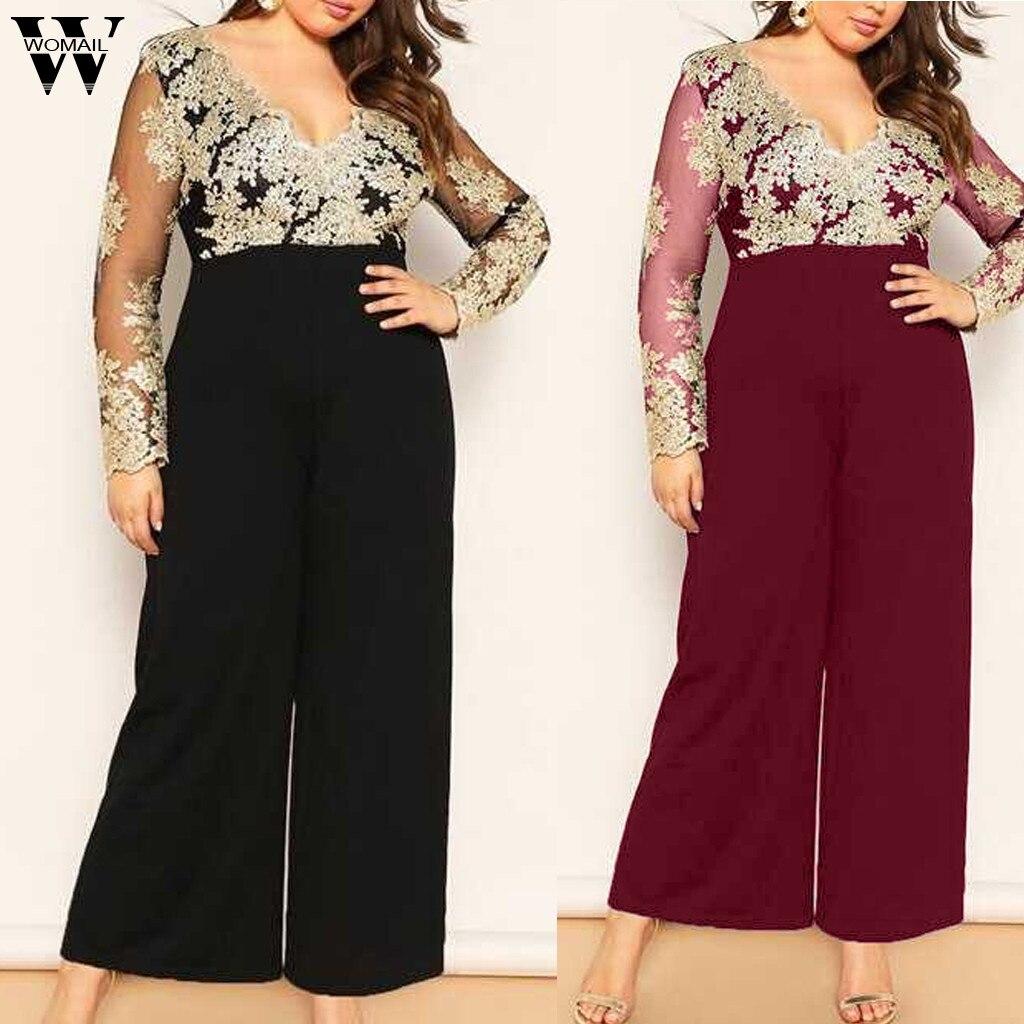 Womail Women Jumpsuit Elegant Black Contrast Lace Mesh Sleeve Front Jumpsuit Women Street Club Wide Leg Jumpsuit Plus Size Party