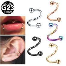 1 шт. 16G G23 титановая спиральная витая ушной хрящ Хеликс козелка пирсинг для носа кольцо для губ бровей Бриллиантовая Сексуальная женская биж...