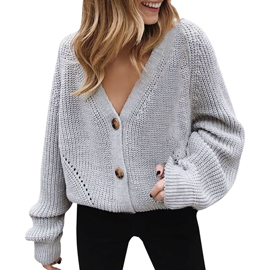 Women/'s V-Neck Long Sleeve Button Down Long Ribbed Knit Cardigan Slim Sweater