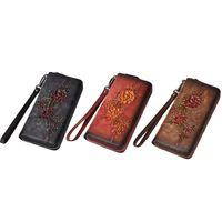 THINKTHENDO Women's Zipper Wallet Leather Wristlet Handbag Floral Embossed Card Clutch Holder Vintage Phone Pouch Purse