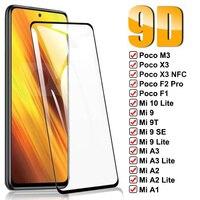 Vetro temperato 9D per Xiaomi Poco M3 X3 NFC F2 Pro F1 pellicola proteggi schermo Xiaomi Mi 9 SE 10 A3 A2 Lite 9T Pro pellicola protettiva in vetro