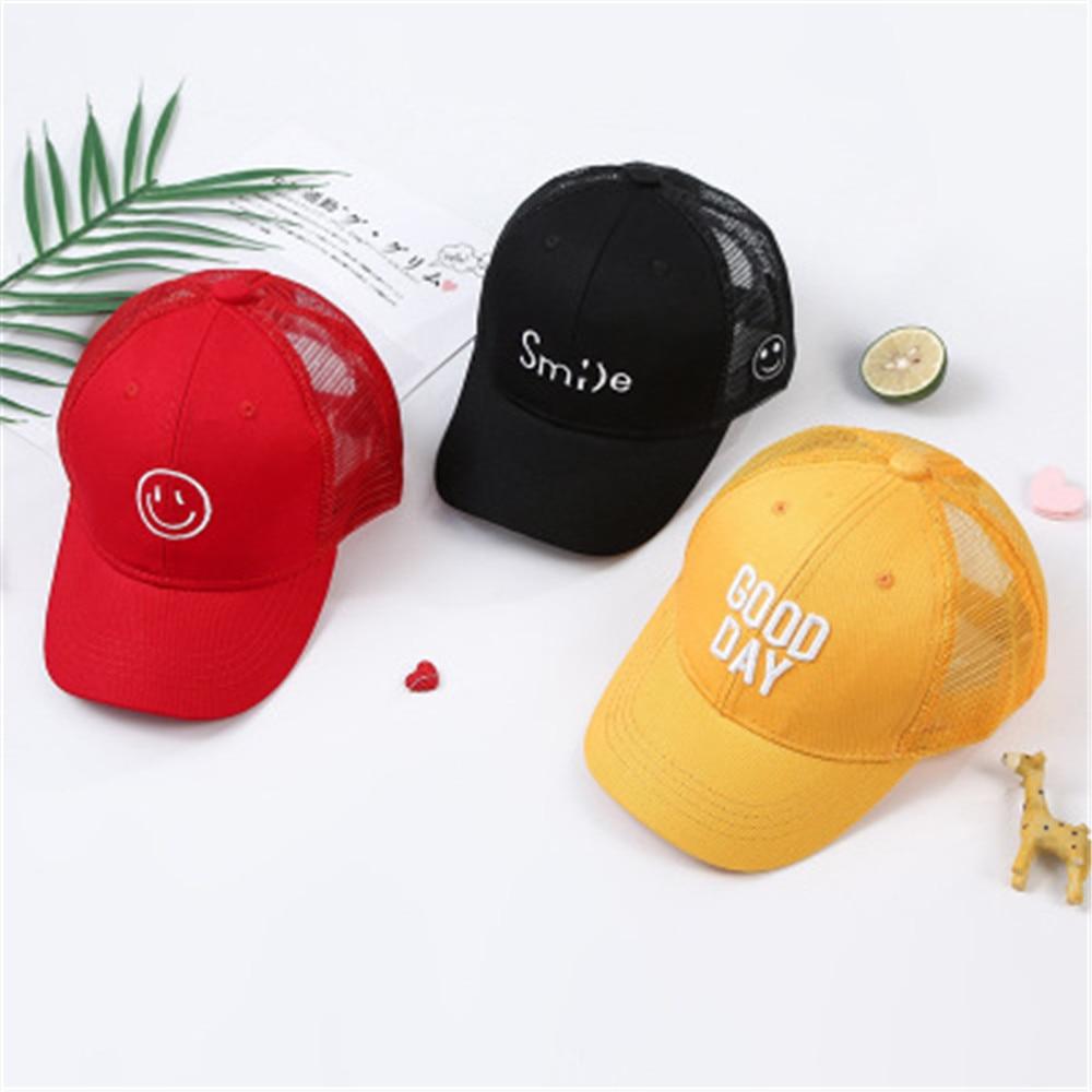 Summer Children Baseball Cap Kids Boys Girls Letters Smile Face Sun Hats Mesh Snapback Caps Outdoor  For 2-9 Years Old