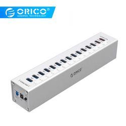 ORICO A3H13P2-SV الألومنيوم 13 منافذ متعددة USB3.0 محور الخائن مع 2 منافذ الشحن 5V2. 4A شاحن فائق/5V1A العالمي الفضة