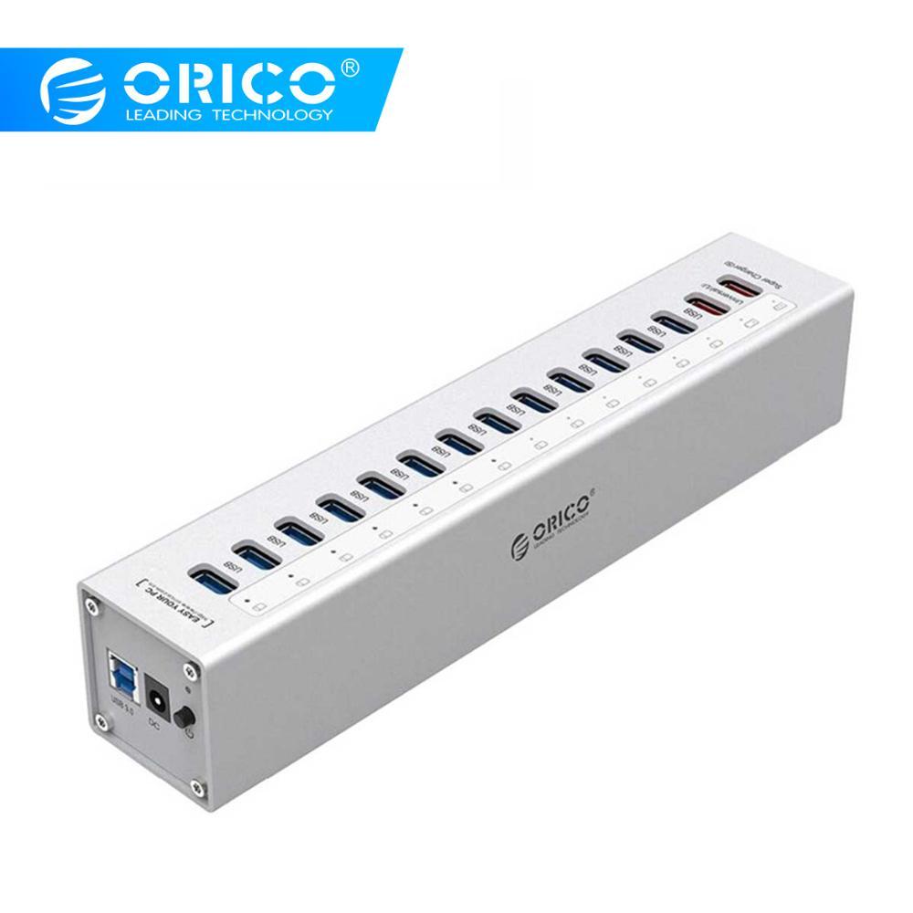 ORICO A3H13P2-SV aluminium 13 Ports Multi USB3.0 répartiteur de moyeu avec 2 Ports de charge 5V2. 4A Super chargeur/5V1A universel argent