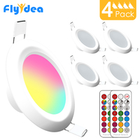 LED Round Downlight 7W RGBW LED Ceiling Multicolor Dimmable Recessed Spot Light Infrared controller Color Changing AC 110V/220V