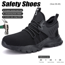 Safety Shoes Mens Lightweight Steel Toe Anti-smashing Anti-piercing Insulated Boots Big Size Comfortable Indestructible Sneakers