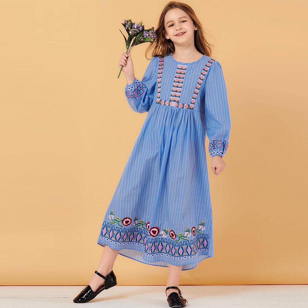 Girls Abaya For Kids Hijab Muslim Dress Abayas Turkey Children Islam Kaftan Dubai Caftan Qatar Omani Turkish Islamic Clothing