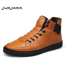 Купить с кэшбэком JUNJARM Hight Quality 100% Genuine Leather Men Ankle Boots Italian Real Leather Men Boots Black Men Winter Shoes With Fur