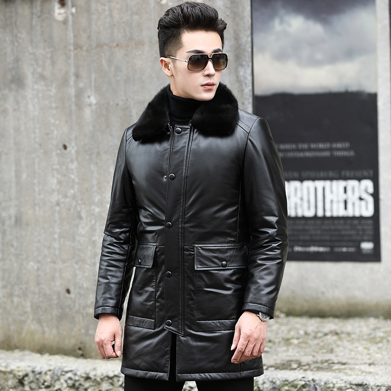Men Cow Duck Down Winter Coat Real Mink Fur Collar Genuine Mens Leather Jacket SY56N YY912