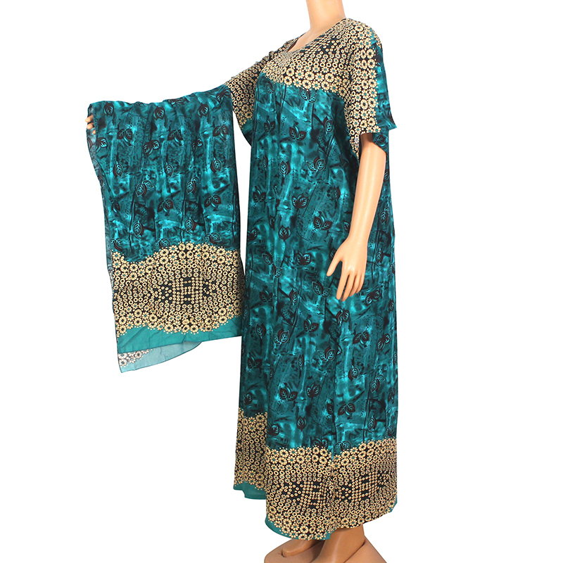2020 Spring Summer New Arrival Fashion African Clothes Elegant Floral Print 100% Cotton Maxi Dress African Dresses For Women