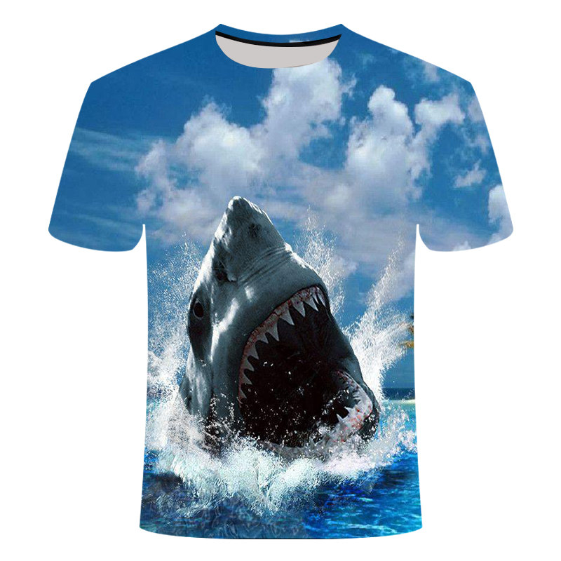 Fashion New Animal Sharks 3D Printing Woen's Short-Sleeved T-Shirt Factory Direct Sales Casual Loose Female And Male Streetwear