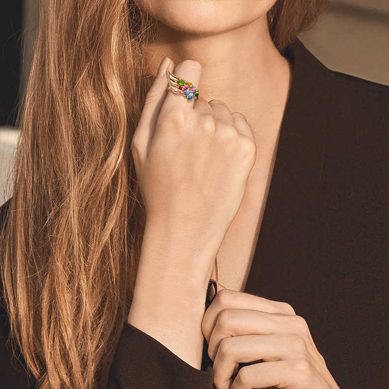 Cdyle Luxury Vintage Dainty สายรุ้งคริสตัล Angel Wing แหวนทองแดง Rose Gold แหวนแฟชั่นเครื่องประดับ 2019