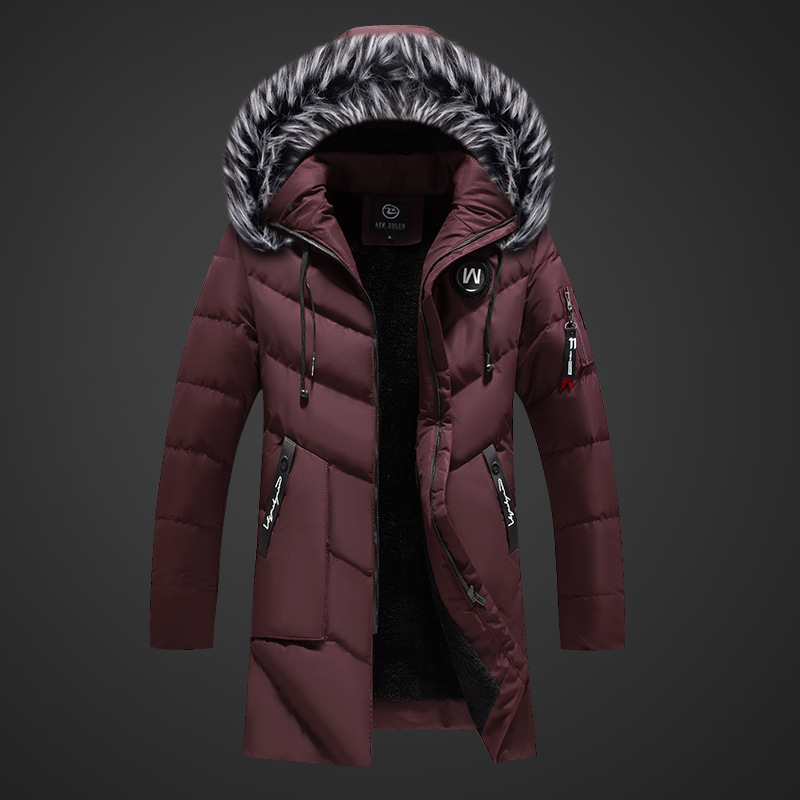 Winter Korean-style Cotton-padded Clothes Men's Thick Warm Coat Fashion Man Slim Fit Plus Cotton Hooded Mid-length Plus Velvet C