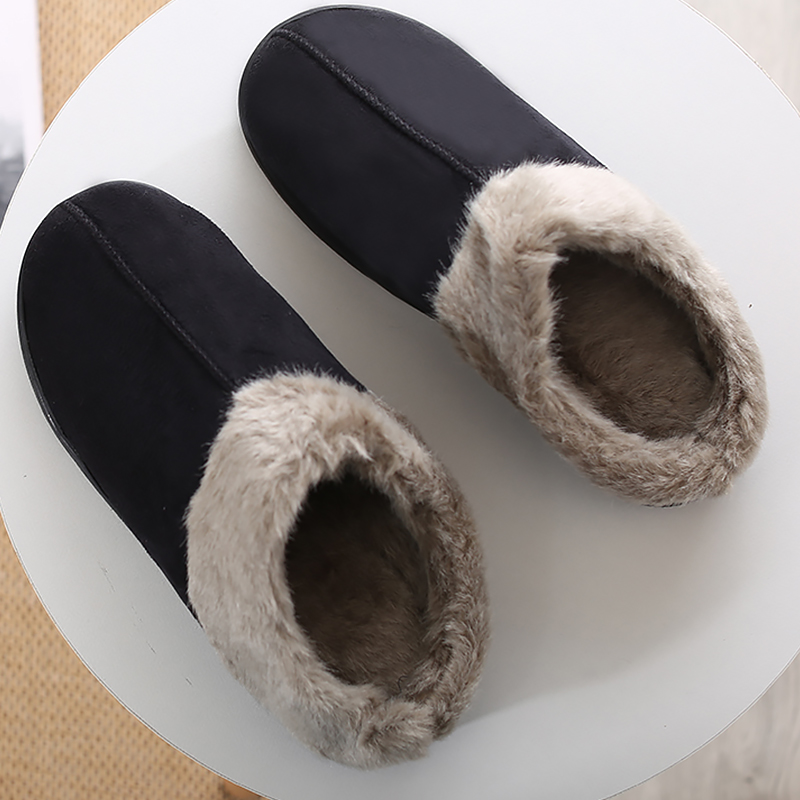 Winter Slippers Men Suede Short Plush Sewing House Shoes For Male Non Slip Warm Soft Velvet Home Shoes Fur Men Slippers Fashion
