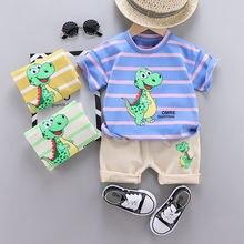 Летний комплект детской одежды Повседневная футболка в полоску