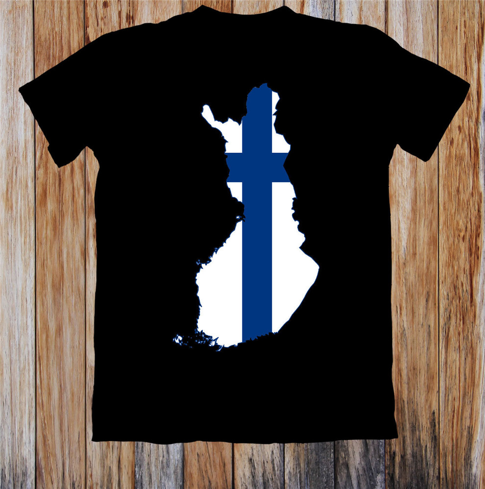 <font><b>Finland</b></font> Map <font><b>Flag</b></font> Unisex T <font><b>Shirt</b></font> Pure Cotton  Tee <font><b>Shirt</b></font> image