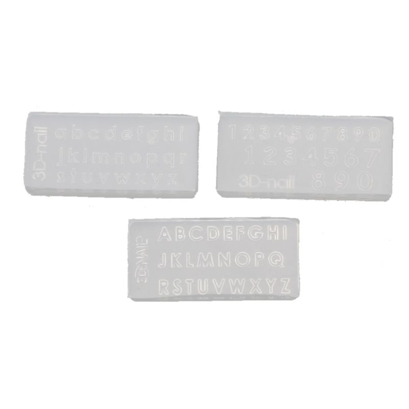 3Pcs Small Size Numbers Letters Mold Kit Alphabet Pendant UV Resin Silicone Mold Jewelry Making Tools Nail Art Crafts