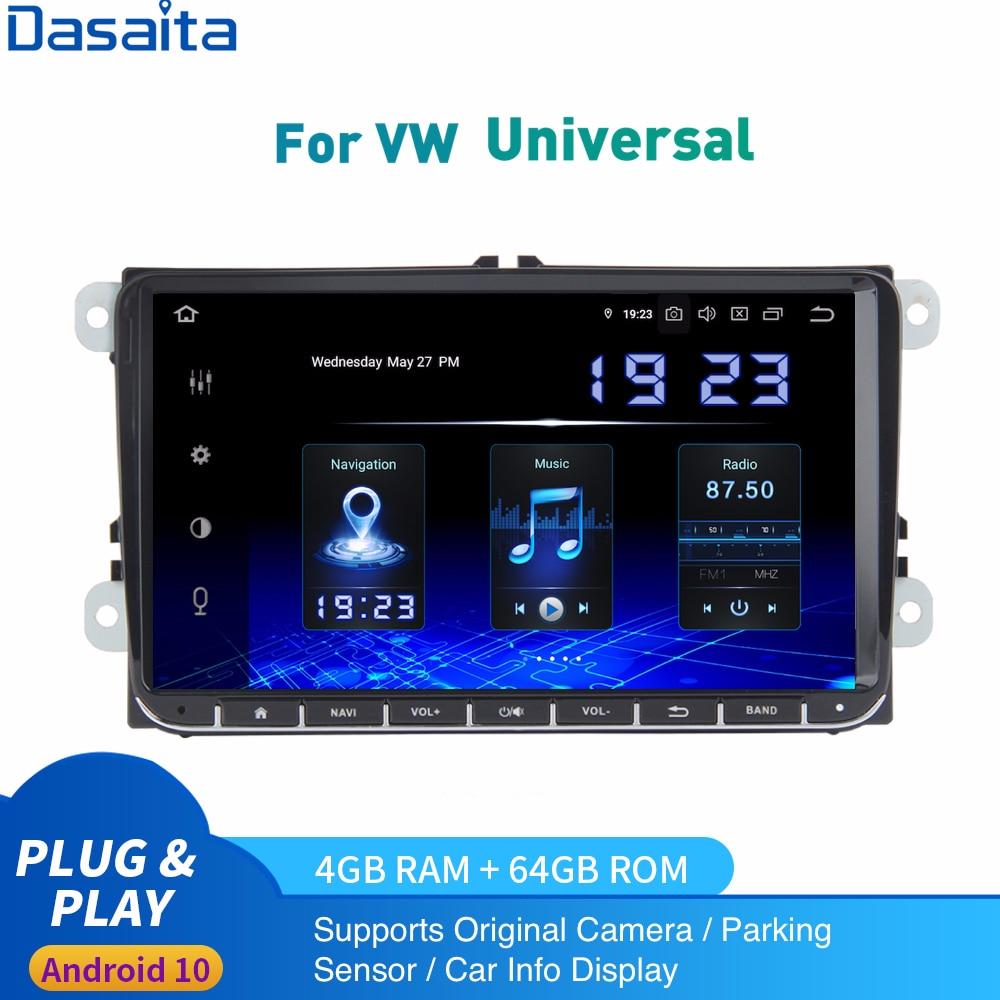 Radio de coche Android 10,0 2 Din para VW GTI Jetta Golf Polo Passat Tiguan Touran Seat Leon 2Din Autoradio DSP IPS 1024x600 Carplay