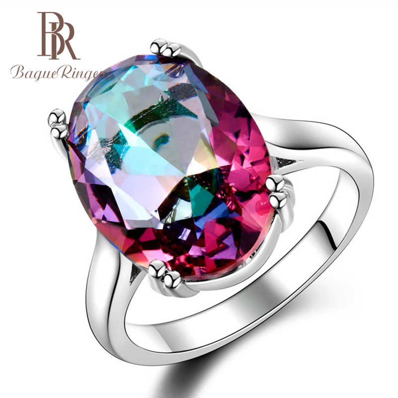 Bague Ringen 6 colors Oval Gemstones Ring for Women Classic Silver 925 Jewelry Ruby Amethyst Aquamarine Sapphire Topaz Zircon