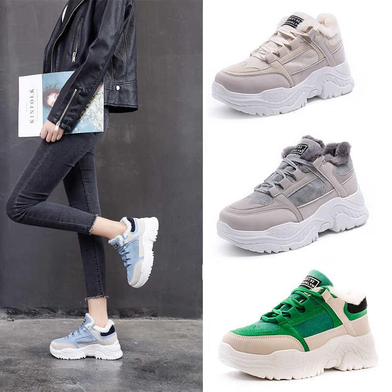 FUJIN/Женские повседневные кроссовки; зимние кроссовки с Плюшевым Мехом; теплая женская обувь; женские ботинки на шнуровке; женская обувь на платформе