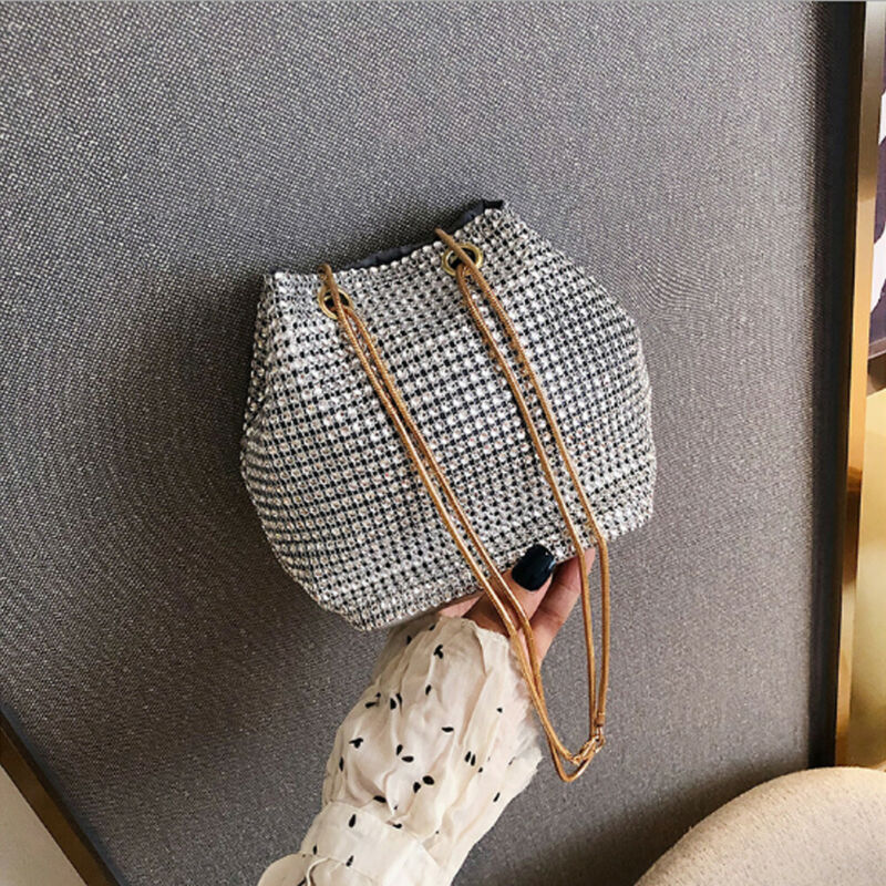 Fashion Evening Bag Women's Rhinestone Bucket Bag Crystal Clutches Shoulder Bucket Bag Shining Cross-body Hand Bag