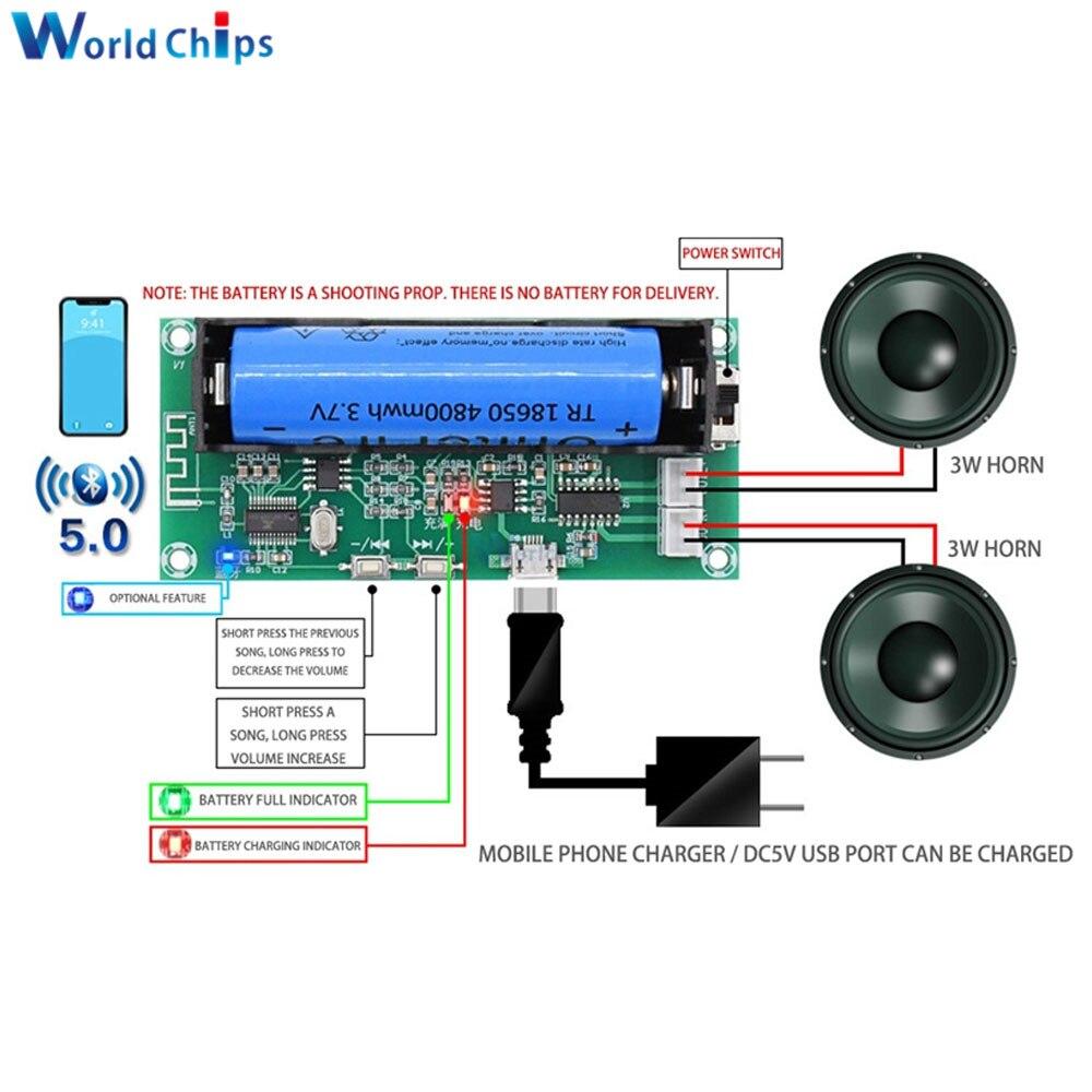 Placa amplificadora PAM8403, Bluetooth 5,0, DC5V, 3W + 3W, 2,0 canales, amplificador de Audio con soporte de batería 18650 para altavoz, bricolaje