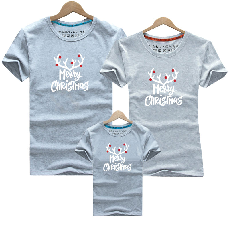 Christmas 2019 Family Matching Outfits T Shirt Family Look Cartoon Elk Deer Summer T Shirts Fashion Cotton Children Clothing