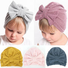 Kids Warm Headwear Caps Hat Infant Toddler Baby Flower Headband Newborn Hairband Cotton Solid Knot Bow Headwear(China)