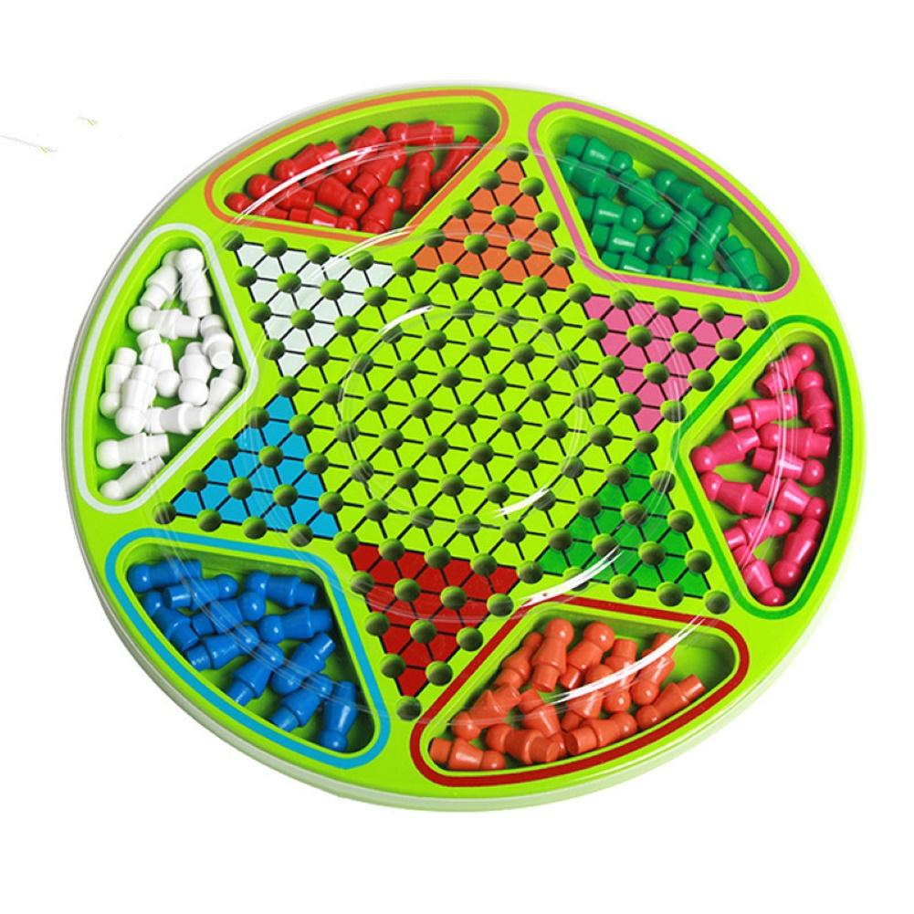 Multi-player Checkers Kids Wooden Chinese Checkers Board Desktop Puzzle Toy Family Interactive Game