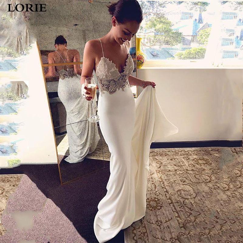 LORIE Mermaid Wedding Dress 2019 Soft Satin Vestidos De Novia Vintage Lace Spaghetti Strap Bridal Dresses Wedding Gowns