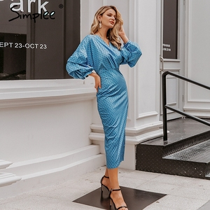 Image 4 - Simplee Elegant v neck women dress Polka dot lantern sleeve female plus size evening party dress Autumn slim lady vintage dress