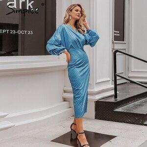 Image 4 - Simplee elegancki dekolt w serek damska sukienka Polka dot latarnia rękaw kobiet plus rozmiar suknia wieczorowa jesień dla szczupłej kobiety sukienka vintage
