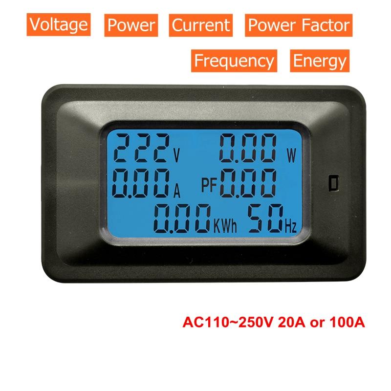 Цифровой вольтметр, амперметр, переменный ток 110 В 220 В 20A/100A, измеритель напряжения, кВт/ч, измеритель коэффициента мощности, частоты, энергии