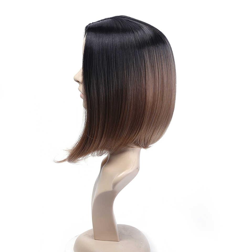 MUMUPI Doğal Siyah Kahverengi Sentetik Saç Günlük 13 Renkler Moda Kadınlar Bob Peruk Kısa Düz Siyah Saç