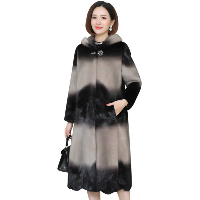Women 2019 Winter Real Mink Fur Coat Long Natural Fur Mink Coats Jackets Female Plus Size Warm Clothes Hooded High quality Fur