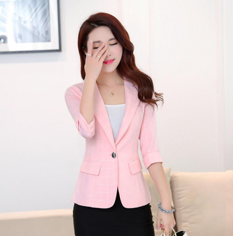 2020 Korean Plaid Women Blazer Short Coat Casual Retro Suit Slim Three Quarter Office Lady Blazers And Jackets Ladies Clothes
