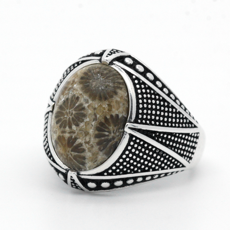 New Arrival 925 Sterling Silver Mens Rings Oval Natural Coral Gemstone Ring Vintage Turkish Thai Silver Jewelry Gift for Male