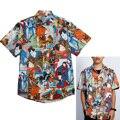 Рубашка мужская с принтом и коротким рукавом, Повседневная Свободная Пляжная, для отпуска, гавайская модель, в японском стиле, большие разме...