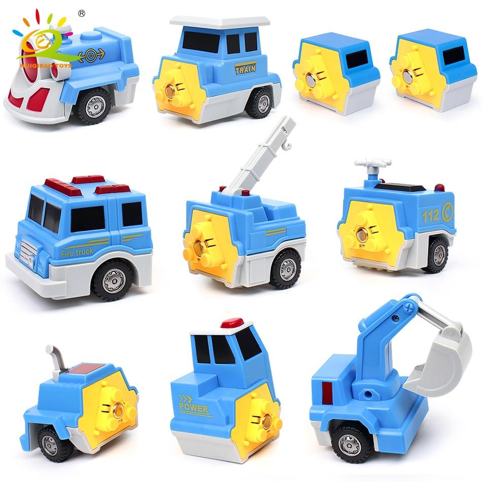 10PCS Construction Engineering Excavator Magnetic Building Blocks DIY Magic Train Truck Vehicle educational Toys For Children 6