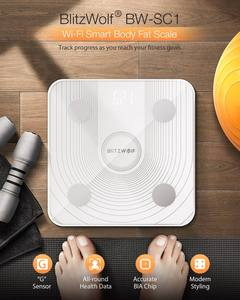 Image 3 - BlitzWolf báscula de cuerpo inteligente, BW SC1, 2,4 GHz, WiFi, Control de grasa, aplicación remota, análisis de datos de IMC, 13 métricas corporales, báscula de peso Digital