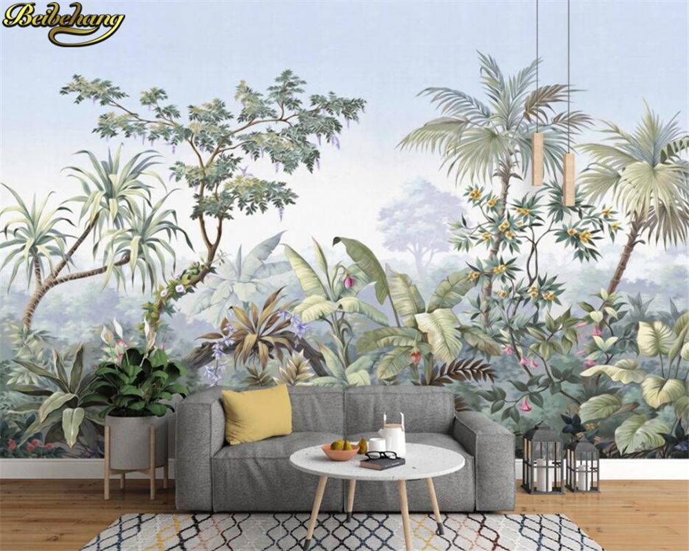 Beibehang European Retro Nostalgic Palace Hand Painted Coconut Tree Rain Forest Oil Painting Custom 3d Wallpaper Mural