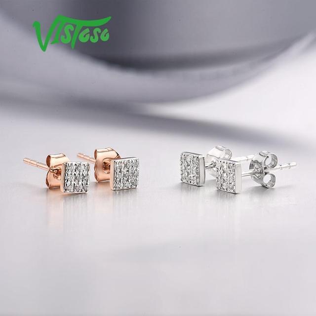 585 Rose/White/Gold & Sparkling Diamond Earrings 5