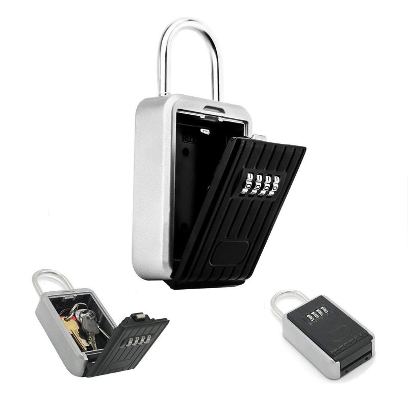 Key Lock Box With 4-Digit Combination For House Key Wall Mounted Padlock D08B
